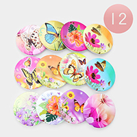 12PCS - Floral Butterfly Print Compact Mirrors