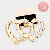12PCS- Metal Bamboo Heart Pin Catch Earrings