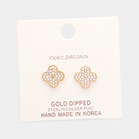 Gold Dipped Cubic Zirconia Clover Metal Stud Earrings