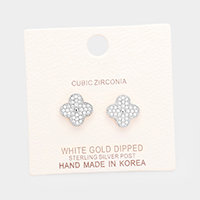 White Gold Dipped Cubic Zirconia Clover Metal Stud Earrings