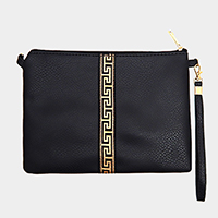 Greek Pattern Zipper Rectangle Clutch Bag