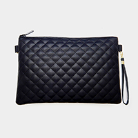 Solid Quilted Zipper Rectangle Clutch Bag