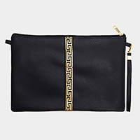 Greek Pattern Faux Leather Crossbody Bag