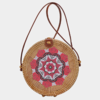 Woven Straw Wood Round Crossbody Bag