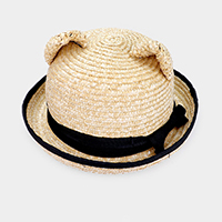 Bear Ear Bow Woven Straw Floppy Hat
