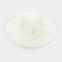 Mesh Bow Accented Woven Straw Floppy Hat