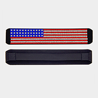 American Flag Rhinestone Pave Stretch Headband