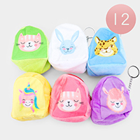 12PCS - Cute Animal Coin Purse Key Chains