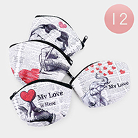 12PCS - 'My Love' Heart Newspaper Coin Purses