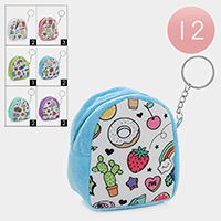 12PCS - Mixed Pattern Coin Purse Key Chains