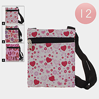 12PCS - Lips Heart Floral Pattern Crossbody Bags