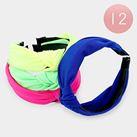 12PCS - Solid Fabric Knot Headbands