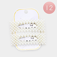 12 Set of 2 - Pearl Bubble Rectangle Hair Clips