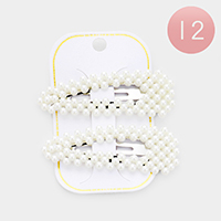 12 Set of 2 - Pearl Bubble Triangle Hair Clips