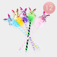 12PCS - Sequin Feather Bunny Ball Pens