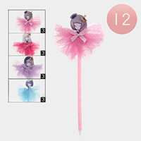12PCS - Cute Girl Bow Mesh Ball Pens