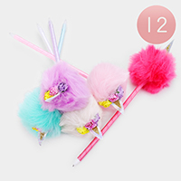 12PCS - Floral Unicorn Fur Ball Pens
