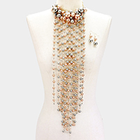 Pearl Cluster Vine Statement Necklace