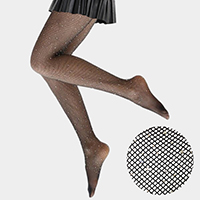 Crystal Embellished Mesh Jacquard Pantyhose Tights