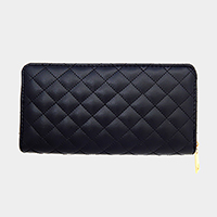 Solid Quilted Zipper Wallet