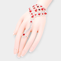 Crystal Teardrop Rhinestone Pave Hand Chain Evening Bracelet