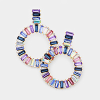 Colorful Stone Open Circle Statement Earrings