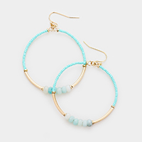 Natural Stone Bead Open Circle Earrings