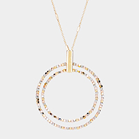 Metal Beaded Double Circle Pendant Long Necklace