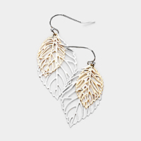 Brass Metal Filigree Leaf Earrings