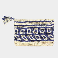 Square Pattern Paper Straw Clutch Bag