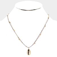 Metal Puka Shell Pendant Double Layered Necklace