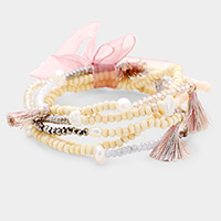 5PCS - Pearl Wood Bead Bow Tassel Stretch Bracelets