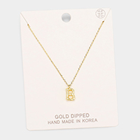 Gold Dipped 'B' Monogram Metal Pendant Necklace