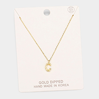 Gold Dipped 'C' Monogram Metal Pendant Necklace