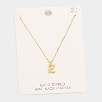 Gold Dipped 'E' Monogram Metal Pendant Necklace