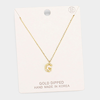Gold Dipped 'G' Monogram Metal Pendant Necklace