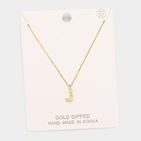 Gold Dipped 'J' Monogram Metal Pendant Necklace