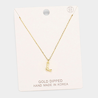 Gold Dipped 'L' Monogram Metal Pendant Necklace