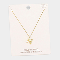Gold Dipped 'N' Monogram Metal Pendant Necklace