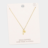 Gold Dipped 'P' Monogram Metal Pendant Necklace
