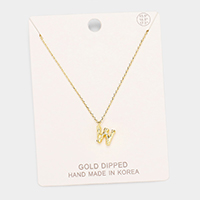 Gold Dipped 'W' Monogram Metal Pendant Necklace