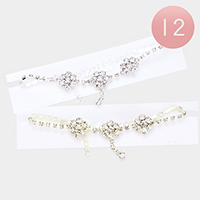 12PCS - Round Crystal Accented Pave Anklets