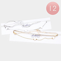 12PCS - Crystal Pave Metal Heart Anklets