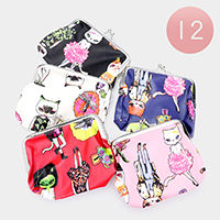 12PCS - Cute Cat Illustration Coin Purses