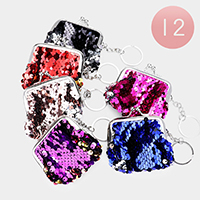 12PCS - Sequin Coin Purse Key Chains