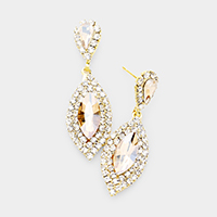 Crystal Marquise Rhinestone Pave Evening Earrings