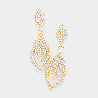 Round Crystal Rhinestone Pave Evening Earrings