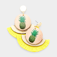 Water Color Pineapple Round Wood Fan Tassel Earrings