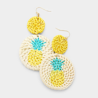 Pineapple Detail Round Woven Straw Earrings
