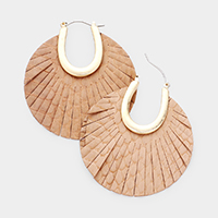 Round Snake Skin Leather Pin Catch Earrings